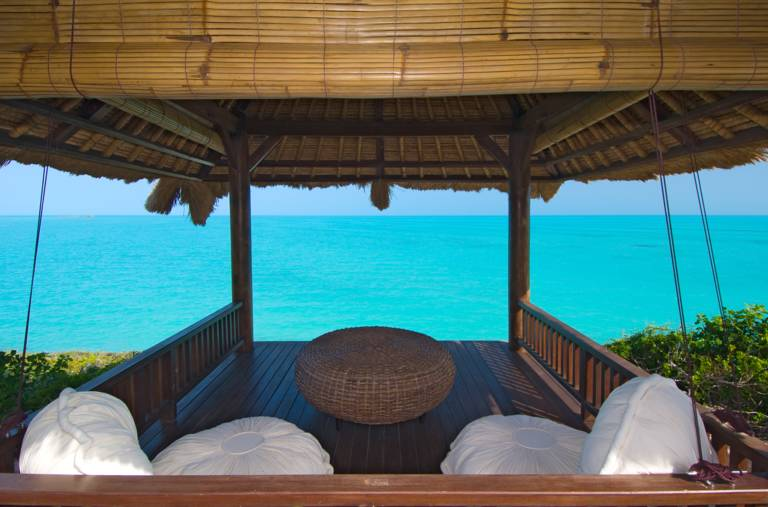 Waterfront gazebo Villa Balinese in Turtle Tail Providenciales