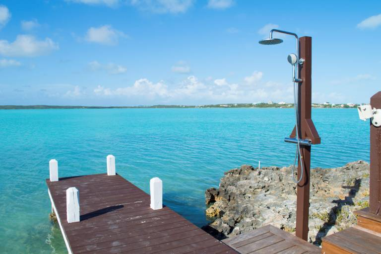 Waterfront dock on Chalk Sound at Villa Bashert, Turks and Caicos