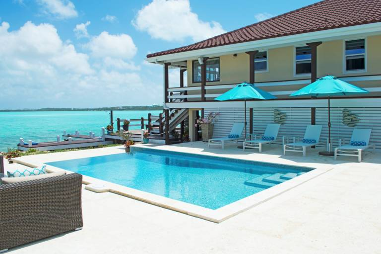Pool at water's edge at Villa Bashert, Chalk Sound, Providenciales