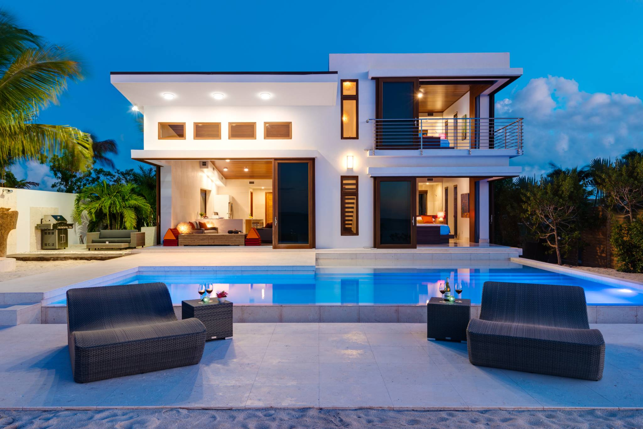 Night and pool lighting at Beach Kandi luxury vacation villa Turks and Caicos
