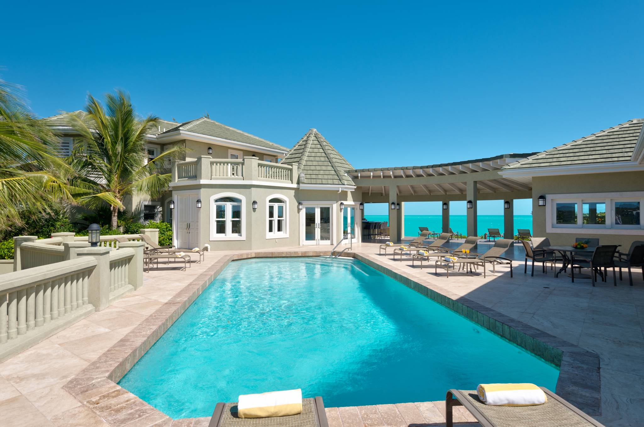 Casa Varnishkes a nine-bedroom beachfront villa on Long Bay Beach Providenciales