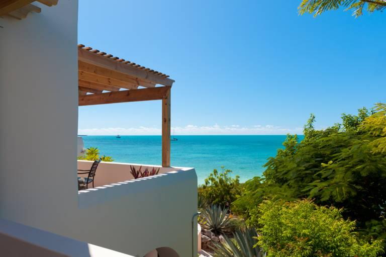 Oceanfront bedroom balcony, La Koubba vacation villa, Turks and Caicos