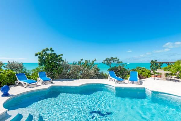 Poolside at La Koubba beachfront villa Chalk Sound Providenciales
