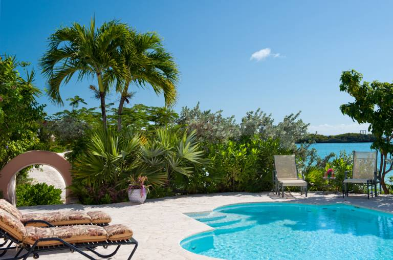 Ocean and beachfront pool at La Koubba luxury villa, Turks and Caicos