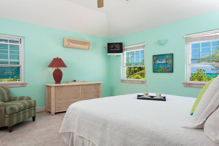 oceanfront king bedroom Serenity House on Grace Bay Beach Providenciales