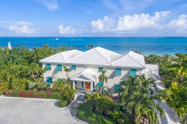 Aerial view Serenity House vacation villa on Grace Bay Beach Turks and Caicos