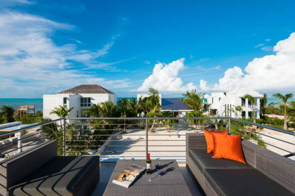 Upper deck with ocean views at Sugar Kube villa Turks and Caicos